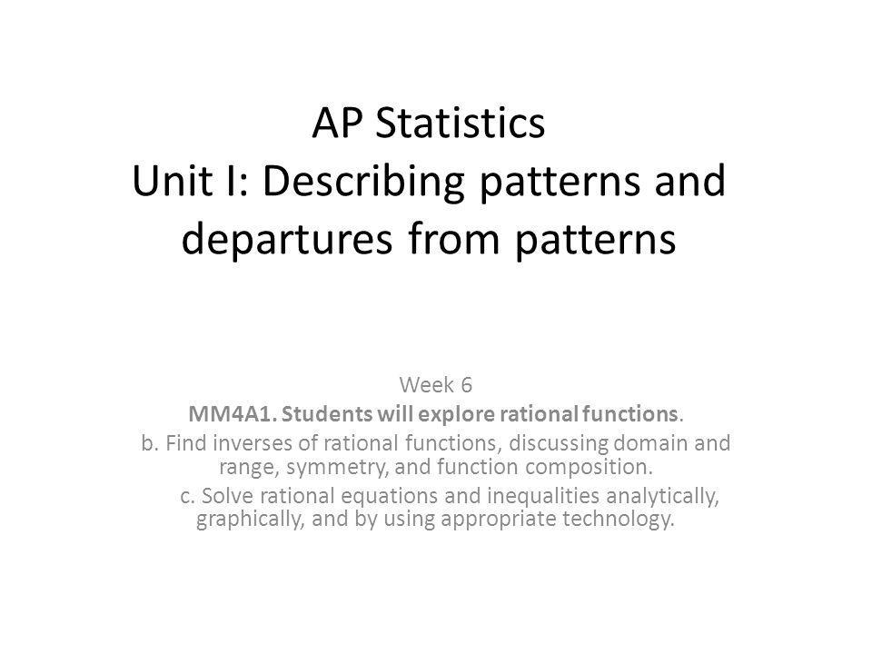 AP Statistics Unit I: Describing patterns and departures from patterns Week 6 MM4A1.