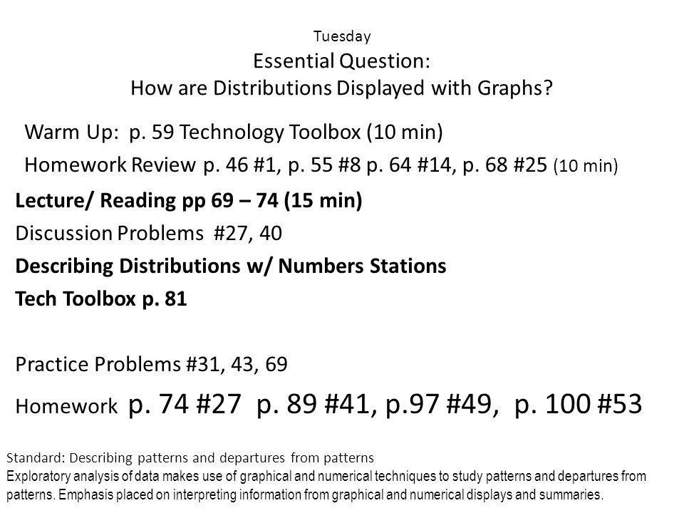 Tuesday Essential Question: How are Distributions Displayed with Graphs.