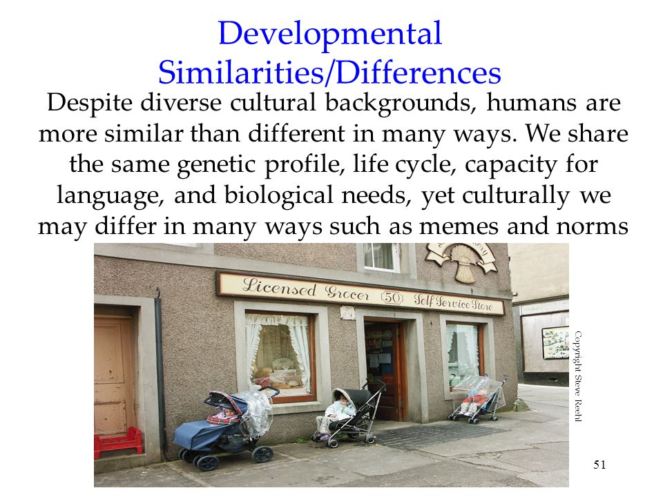 51 Developmental Similarities/Differences Despite diverse cultural backgrounds, humans are more similar than different in many ways. We share the same