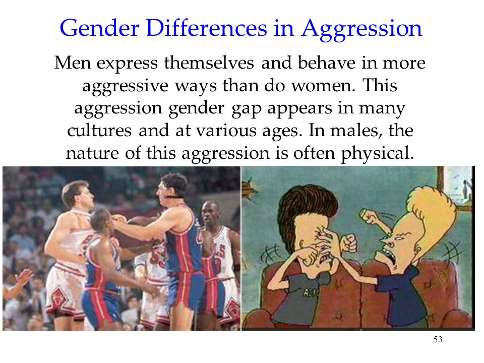 53 Gender Differences in Aggression Men express themselves and behave in more aggressive ways than do women. This aggression gender gap appears in man