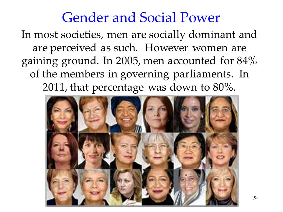 54 Gender and Social Power In most societies, men are socially dominant and are perceived as such. However women are gaining ground. In 2005, men acco