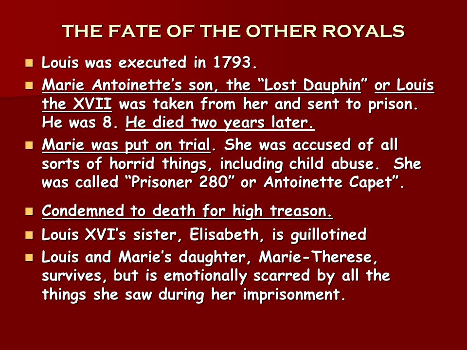 THE FATE OF THE OTHER ROYALS Louis was executed in 1793. Louis was executed in 1793. Marie Antoinettes son, the Lost Dauphin or Louis the XVII was tak