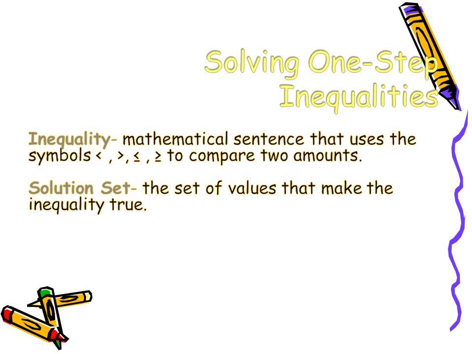 Solving One- Step Inequalities