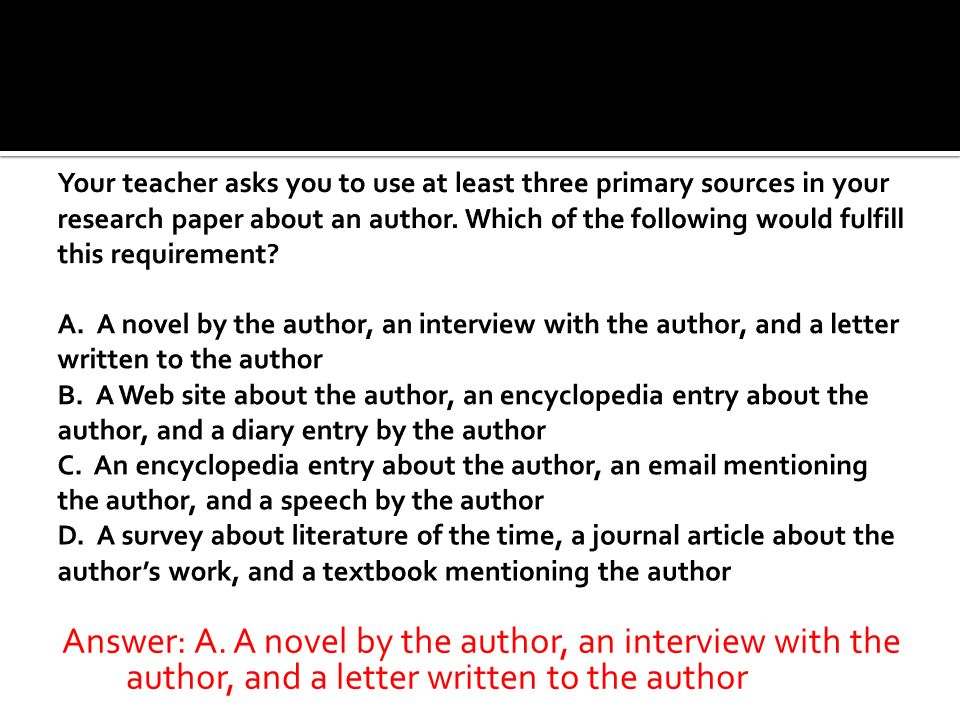 Answer: A. A novel by the author, an interview with the author, and a letter written to the author