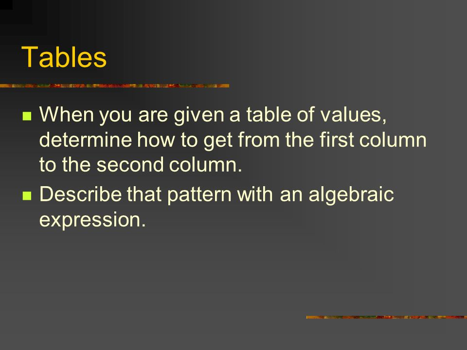 Tables When you are given a table of values, determine how to get from the first column to the second column. Describe that pattern with an algebraic
