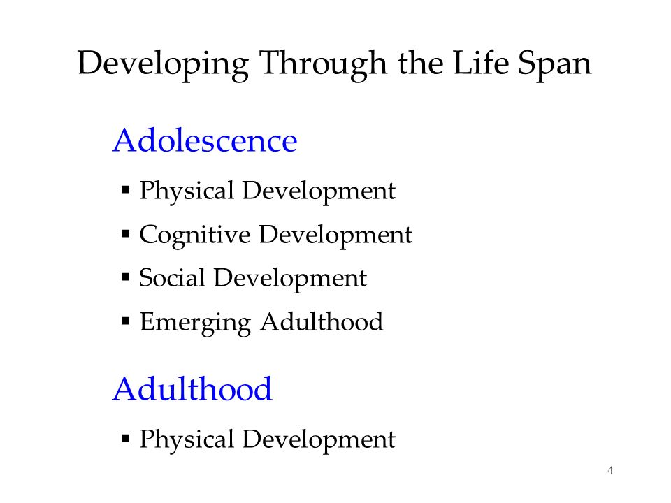 4 Developing Through the Life Span Adolescence Physical Development Cognitive Development Social Development Emerging Adulthood Adulthood Physical Dev