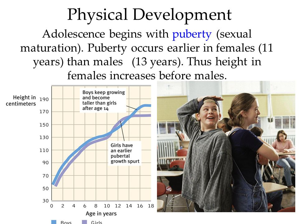 51 Physical Development Adolescence begins with puberty (sexual maturation). Puberty occurs earlier in females (11 years) than males (13 years). Thus