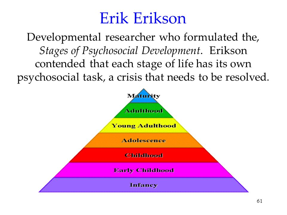 61 Erik Erikson Developmental researcher who formulated the, Stages of Psychosocial Development. Erikson contended that each stage of life has its own