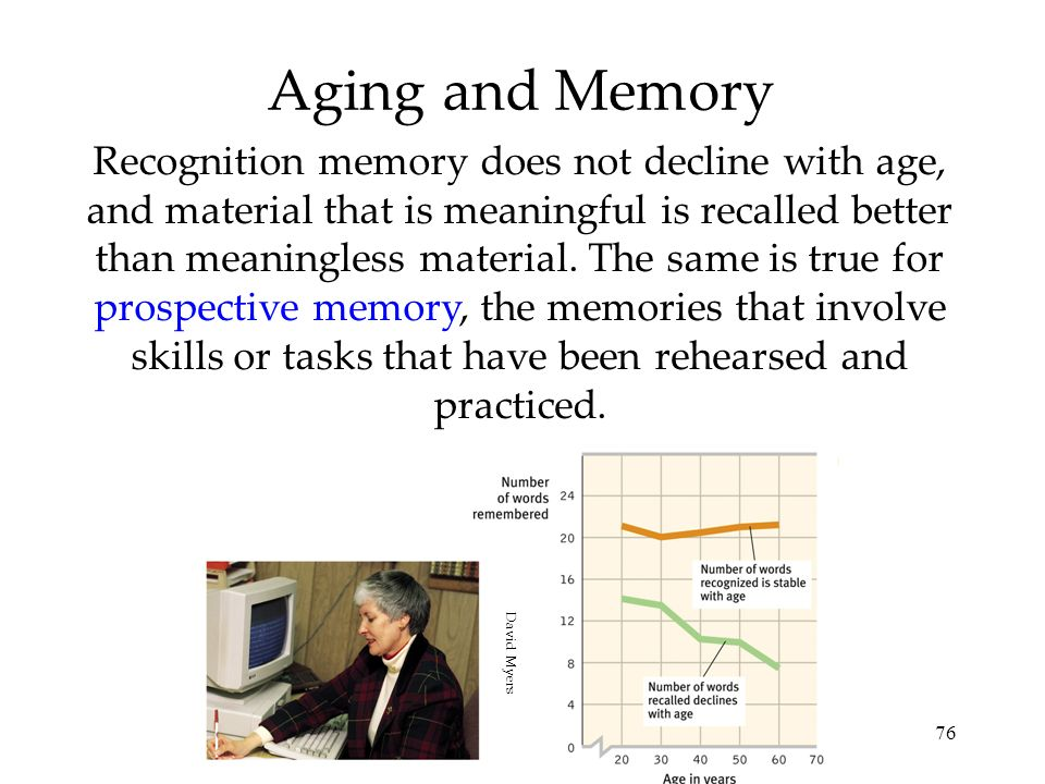76 Aging and Memory Recognition memory does not decline with age, and material that is meaningful is recalled better than meaningless material. The sa