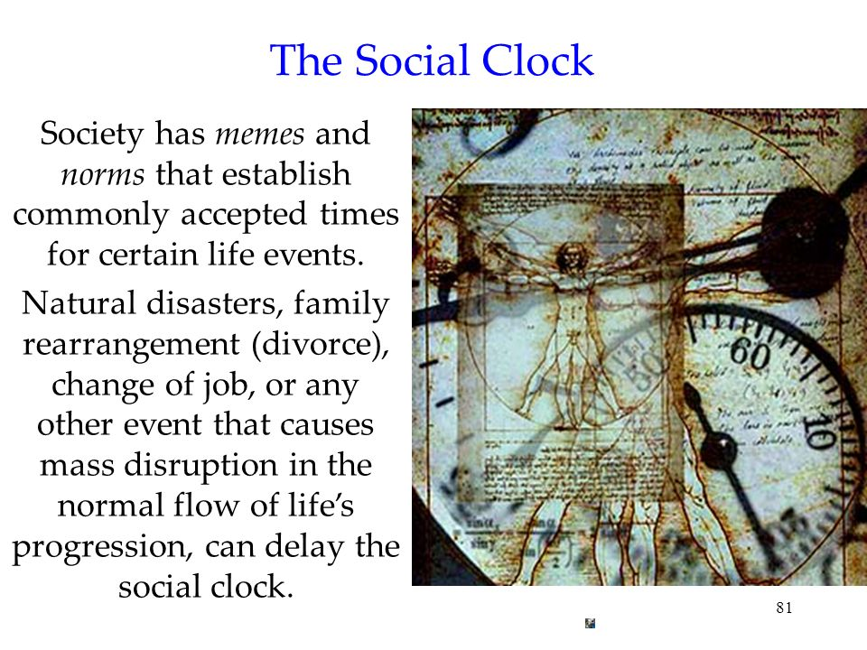 81 The Social Clock Society has memes and norms that establish commonly accepted times for certain life events. Natural disasters, family rearrangemen