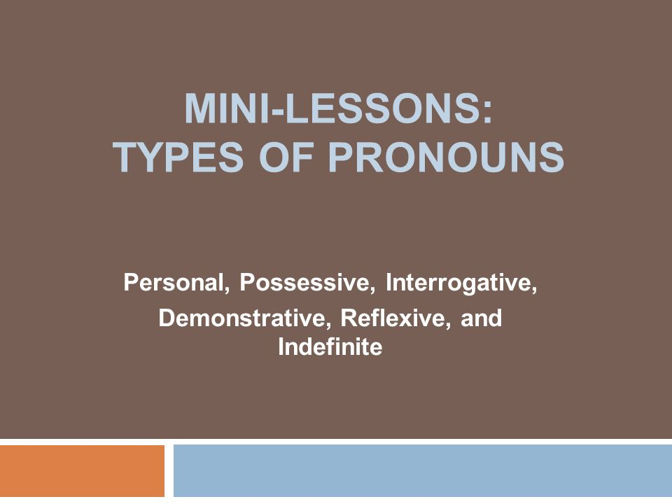 MINI-LESSONS: TYPES OF PRONOUNS Personal, Possessive, Interrogative, Demonstrative, Reflexive, and Indefinite