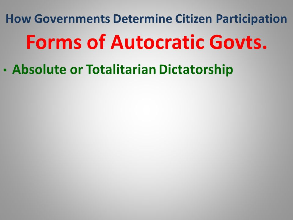 How Governments Determine Citizen Participation Forms of Autocratic Govts. Absolute or Totalitarian Dictatorship