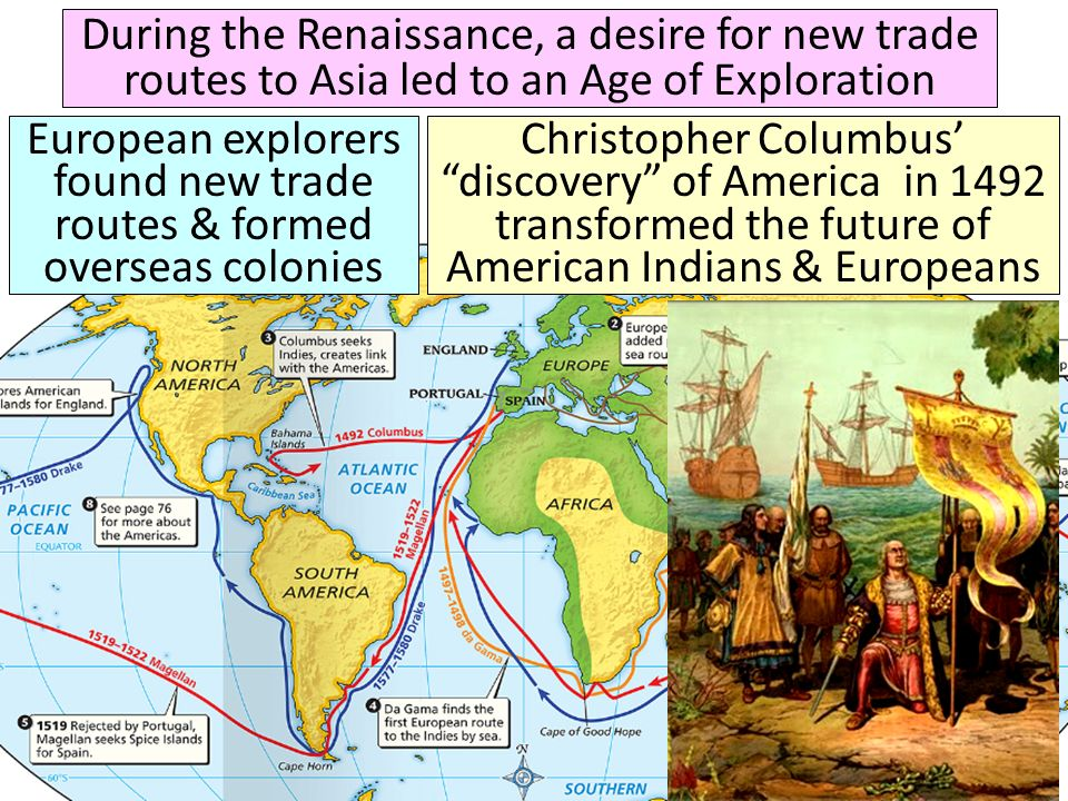 During the Renaissance, a desire for new trade routes to Asia led to an Age of Exploration European explorers found new trade routes & formed overseas colonies Christopher Columbus discovery of America in 1492 transformed the future of American Indians & Europeans