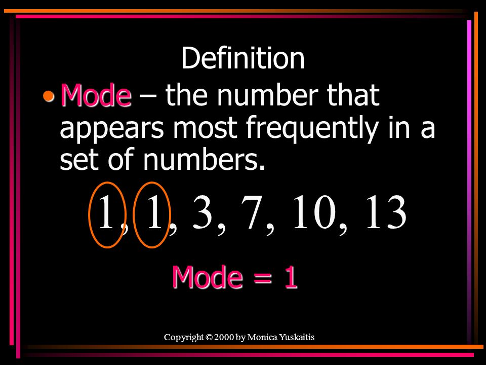 Copyright © 2000 by Monica Yuskaitis Definition ModeMode – the number that appears most frequently in a set of numbers.