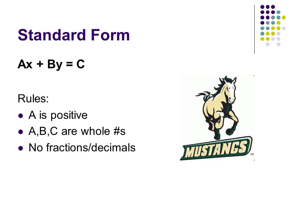 Standard Form Ax + By = C Rules: A is positive A,B,C are whole #s No fractions/decimals