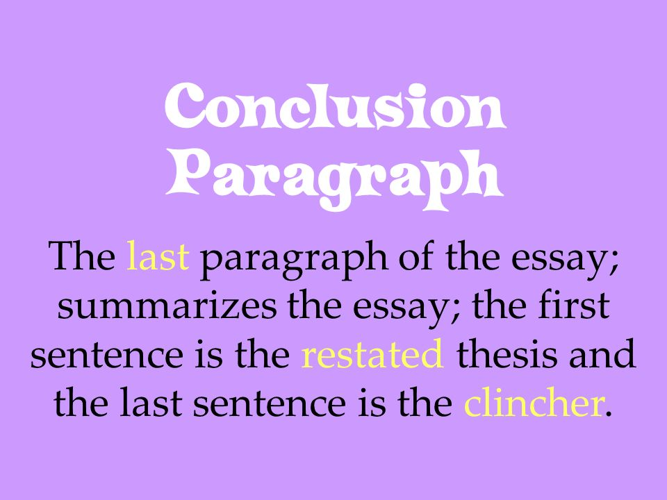 Conclusion Paragraph The last paragraph of the essay; summarizes the essay; the first sentence is the restated thesis and the last sentence is the cli