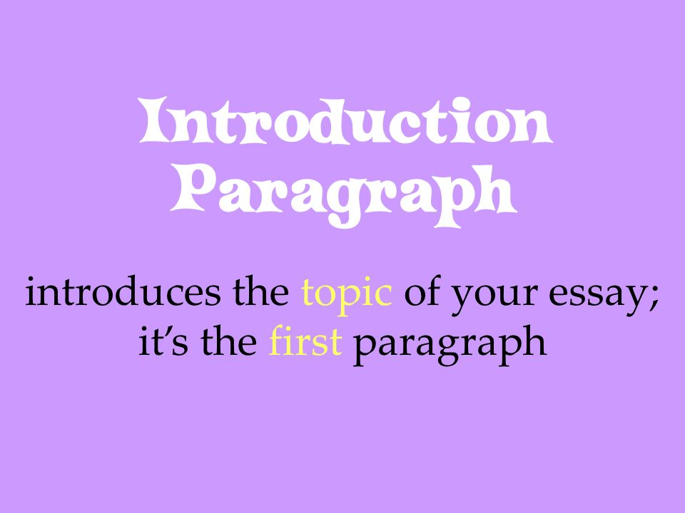 Introduction Paragraph introduces the topic of your essay; its the first paragraph