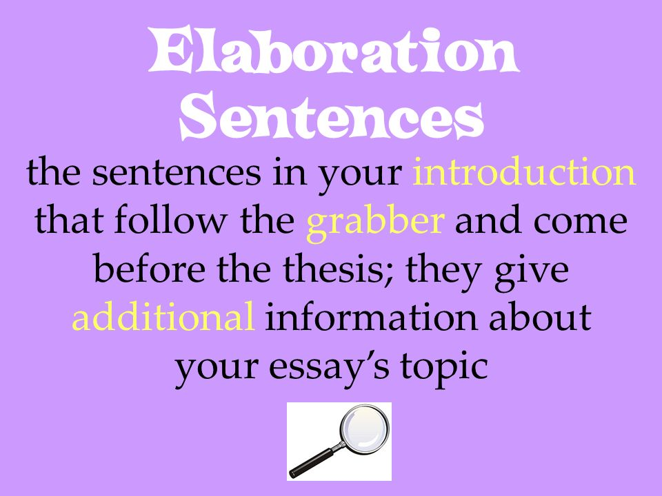 Elaboration Sentences the sentences in your introduction that follow the grabber and come before the thesis; they give additional information about yo