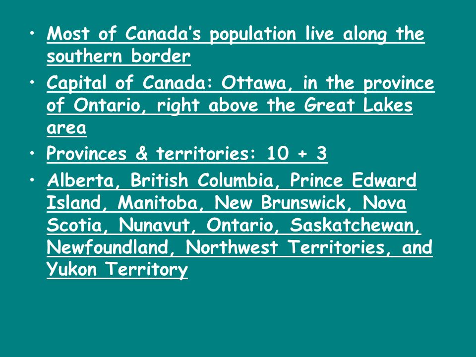 Canadian Geography Canada is a huge country located in the northern portion of the North American continent 3,849,675 sq. mi.=2 nd largest country in