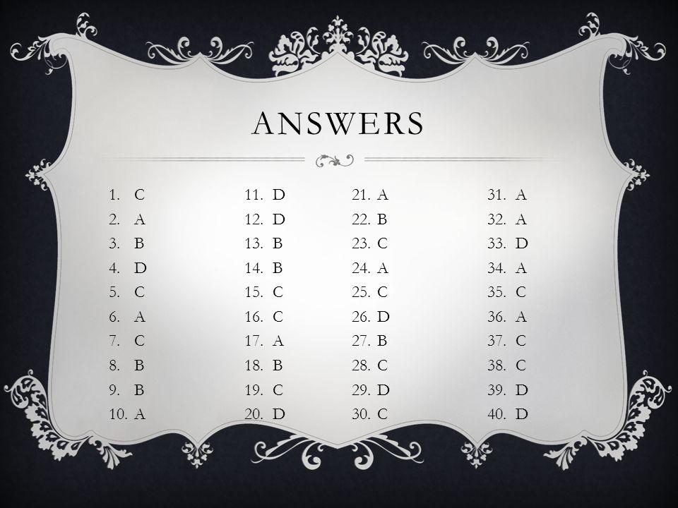 1.C11. D 2.A12. D 3.B13. B 4.D14. B 5.C15. C 6.A16. C 7.C17. A 8.B18. B 9.B19. C 10.A20. D ANSWERS 21.A31. A 22.B32. A 23.C33. D 24.A34. A 25.C35. C 2