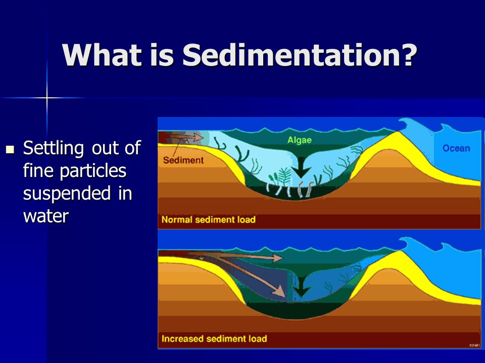 What is Sedimentation? Settling out of fine particles suspended in water Settling out of fine particles suspended in water