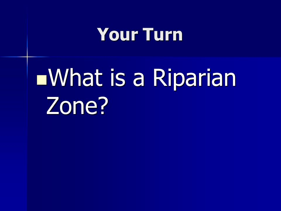 Your Turn What is a Riparian Zone? What is a Riparian Zone?