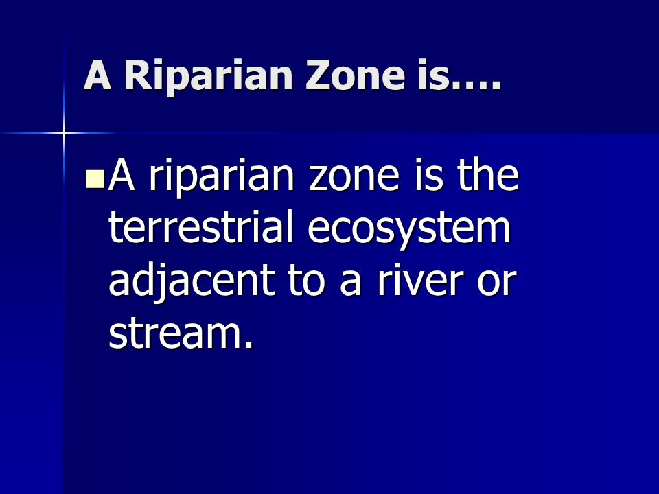 A Riparian Zone is…. A riparian zone is the terrestrial ecosystem adjacent to a river or stream. A riparian zone is the terrestrial ecosystem adjacent