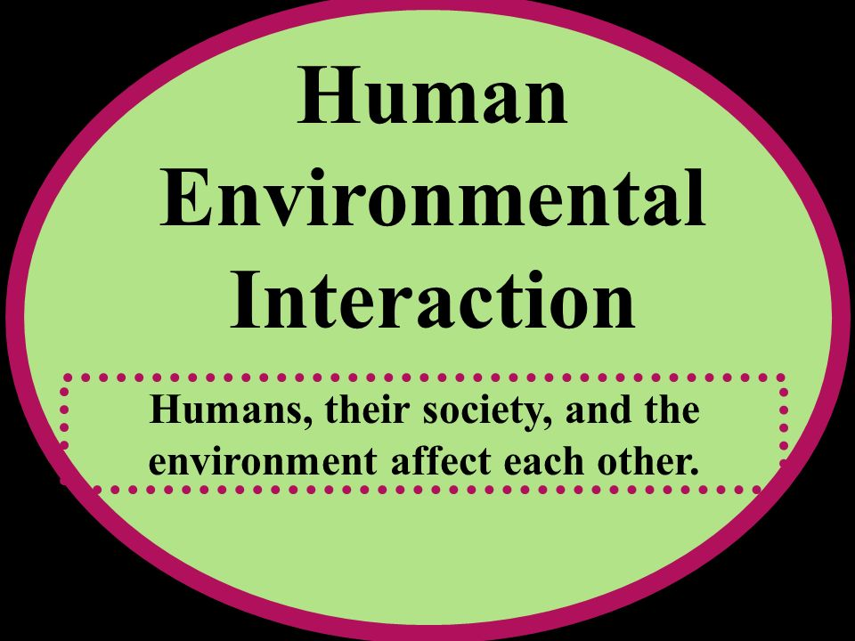 Human Environmental Interaction Humans, their society, and the environment affect each other.