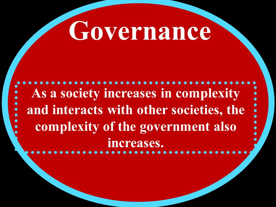 Governance As a society increases in complexity and interacts with other societies, the complexity of the government also increases.