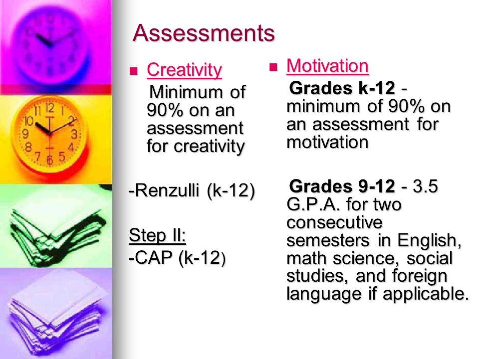 Assessments Creativity Creativity Minimum of 90% on an assessment for creativity Minimum of 90% on an assessment for creativity -Renzulli (k-12) Step