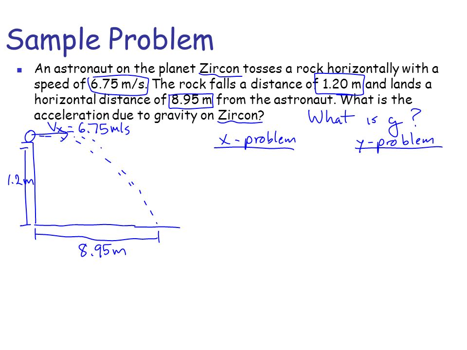 Sample Problem An astronaut on the planet Zircon tosses a rock horizontally with a speed of 6.75 m/s. The rock falls a distance of 1.20 m and lands a