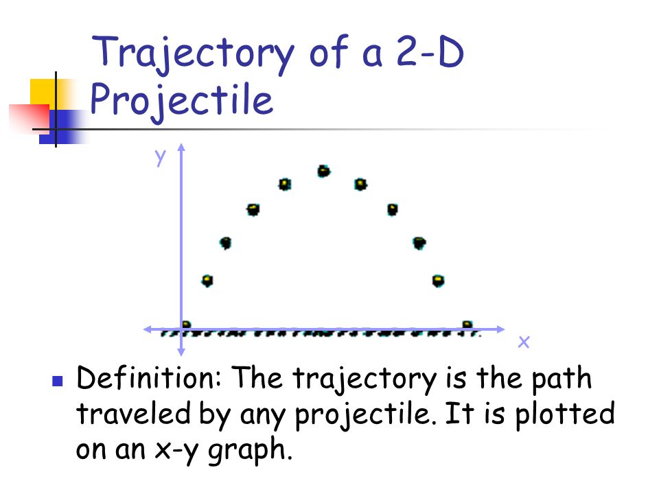 Trajectory of a 2-D Projectile x y Definition: The trajectory is the path traveled by any projectile. It is plotted on an x-y graph.