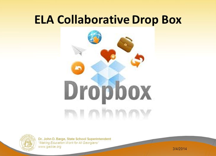 Dr. John D. Barge, State School Superintendent Making Education Work for All Georgians www.gadoe.org ELA Collaborative Drop Box 3/4/2014