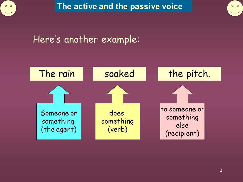 The active and the passive voice 2 Heres another example: Someone or something (the agent) The rain does something (verb) soaked to someone or something else (recipient) the pitch.