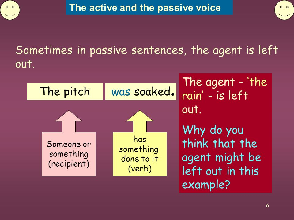 The active and the passive voice 7 Compare these sentences.