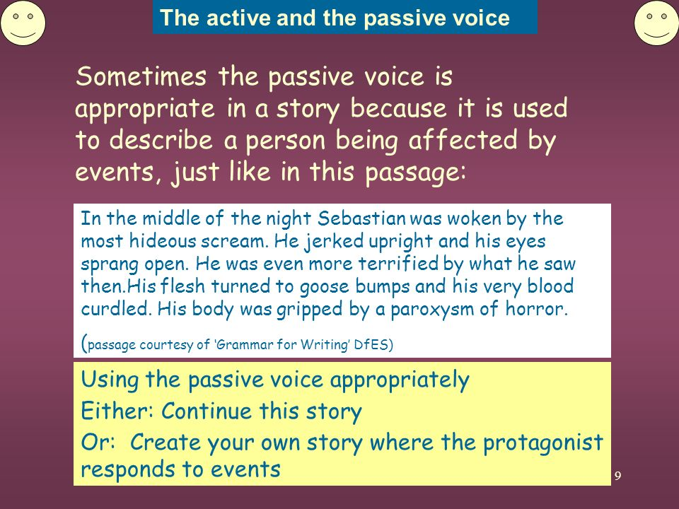 The active and the passive voice 10 Look out for the use of the passive voice in sentences.