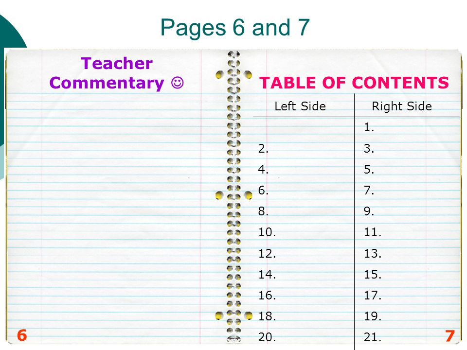 Pages 6 and 7 6 7 Teacher Commentary TABLE OF CONTENTS Left Side Right Side 1. 2. 3. 4. 5. 6. 7. 8. 9. 10. 11. 12. 13. 14. 15. 16. 17. 18. 19. 20. 21.