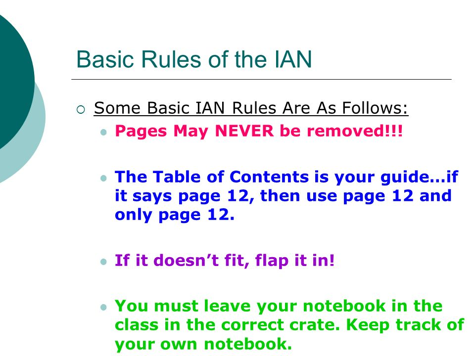 Basic Rules of the IAN Some Basic IAN Rules Are As Follows: Pages May NEVER be removed!!! The Table of Contents is your guide…if it says page 12, then