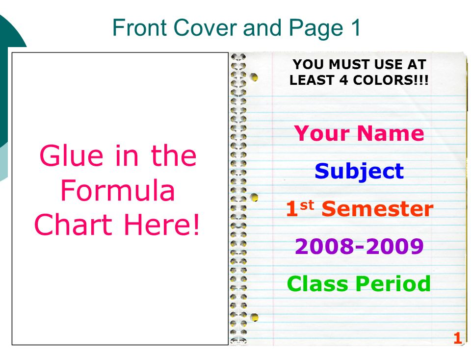 Front Cover and Page 1 Your Name Subject 1 st Semester 2008-2009 Class Period 1 Glue in the Formula Chart Here! YOU MUST USE AT LEAST 4 COLORS!!!