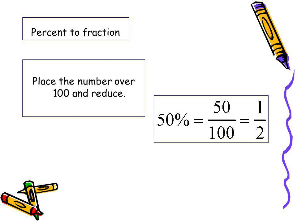 Percent to fraction Place the number over 100 and reduce.