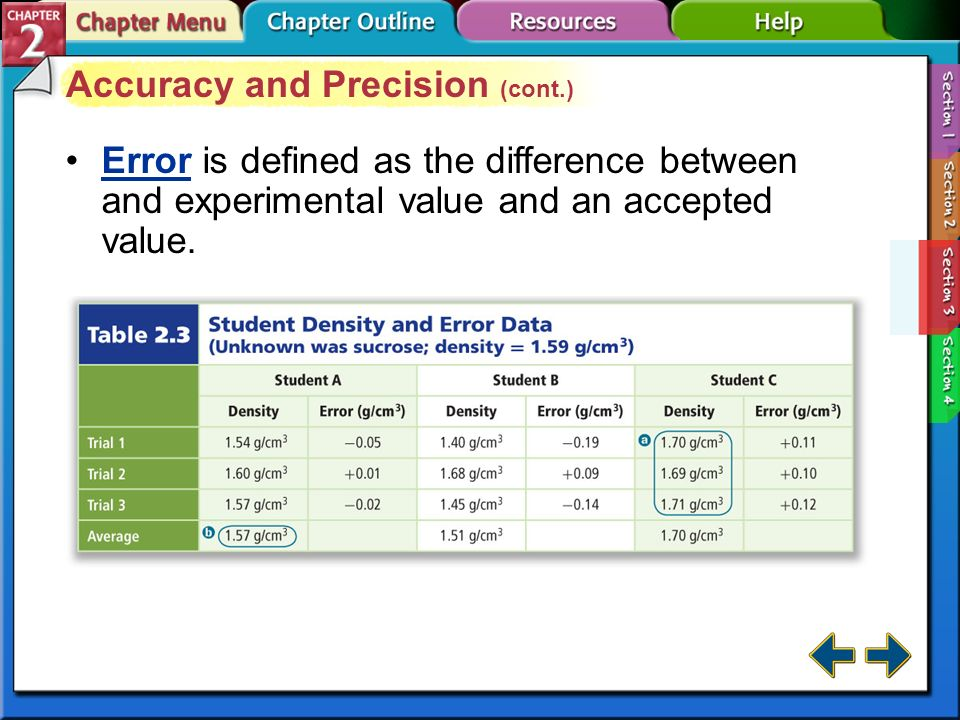 Section 2-3 Accuracy and Precision Accuracy refers to how close a measured value is to an accepted value.Accuracy Precision refers to how close a seri