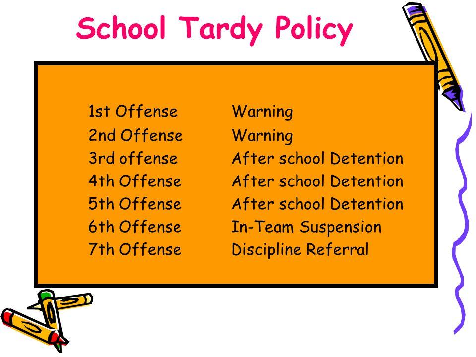 School Tardy Policy 1st OffenseWarning 2nd OffenseWarning 3rd offenseAfter school Detention 4th OffenseAfter school Detention 5th OffenseAfter school Detention 6th OffenseIn-Team Suspension 7th OffenseDiscipline Referral