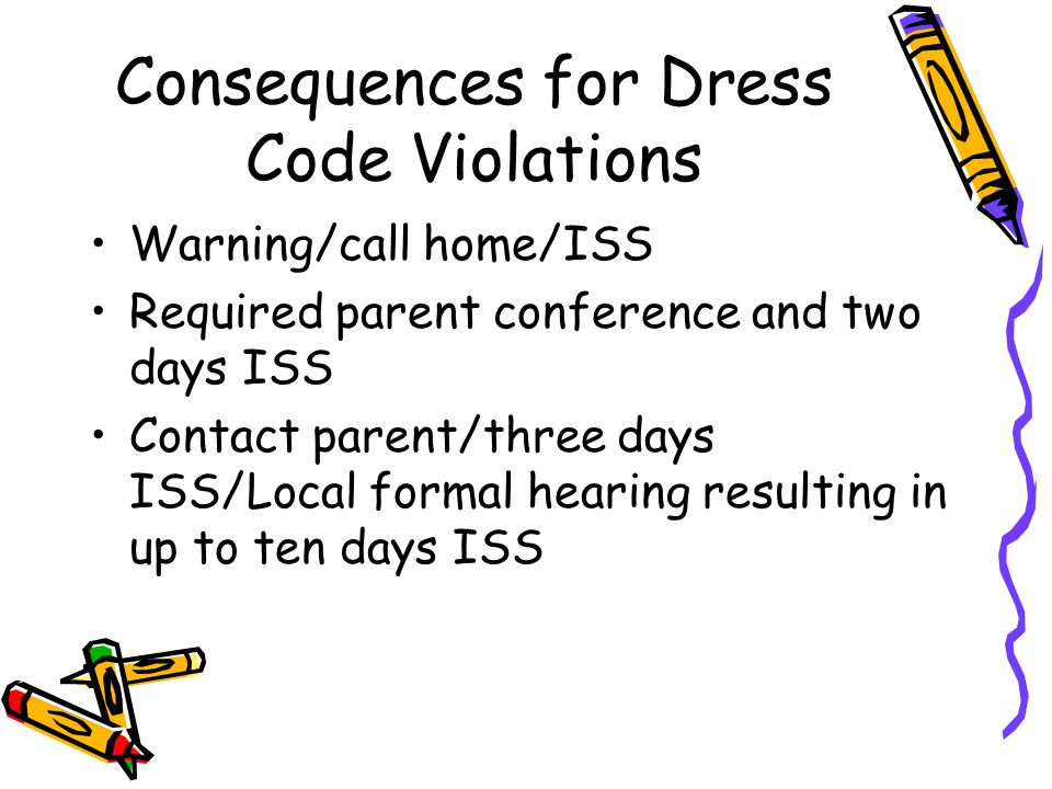 Consequences for Dress Code Violations Warning/call home/ISS Required parent conference and two days ISS Contact parent/three days ISS/Local formal hearing resulting in up to ten days ISS
