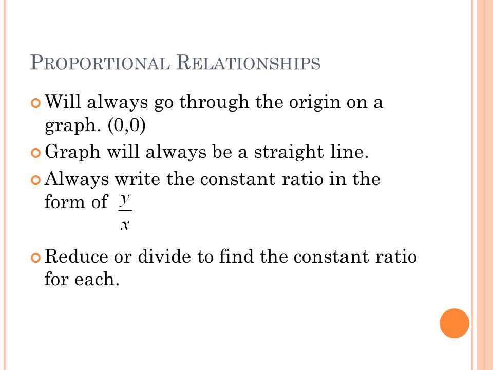 P ROPORTIONAL R ELATIONSHIPS Will always go through the origin on a graph. (0,0) Graph will always be a straight line. Always write the constant ratio