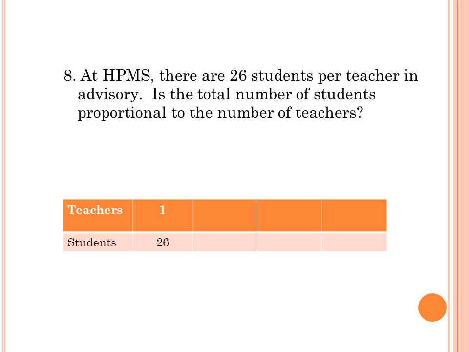 8. At HPMS, there are 26 students per teacher in advisory. Is the total number of students proportional to the number of teachers? Teachers1 Students2