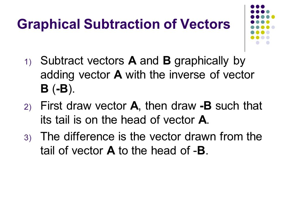 A B R A + B = R The Equilibrant Vector The vector -R is called the equilibrant. If you add R and -R you get a null (or zero) vector. -R