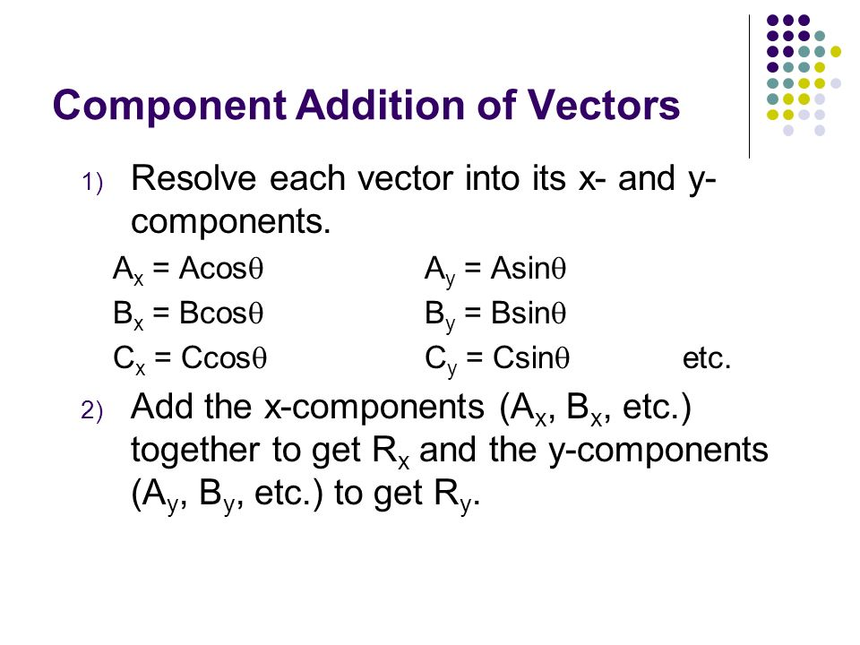 Vectors Component addition and subtraction