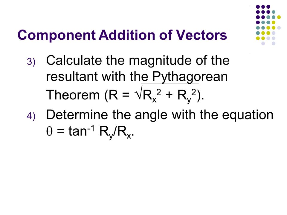 Component Addition of Vectors 1) Resolve each vector into its x- and y- components. A x = Acos A y = Asin B x = Bcos B y = Bsin C x = Ccos C y = Csin