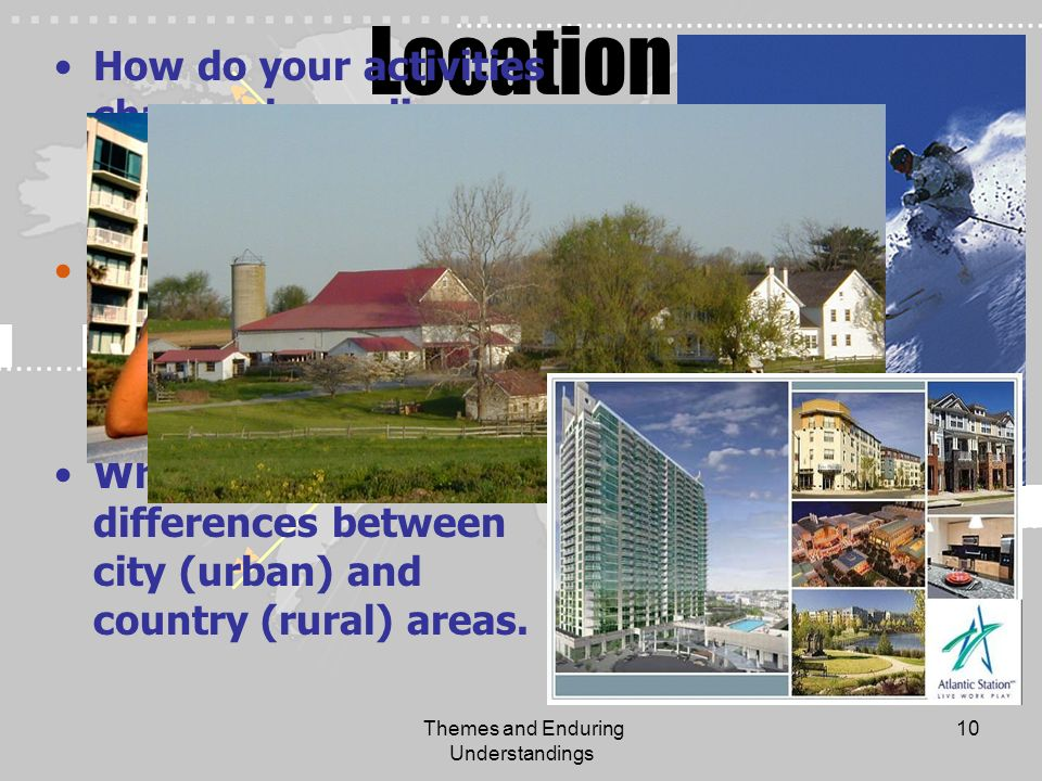 Themes and Enduring Understandings 10 Location How do your activities change depending on where you go on vacation? How do your activities change depe