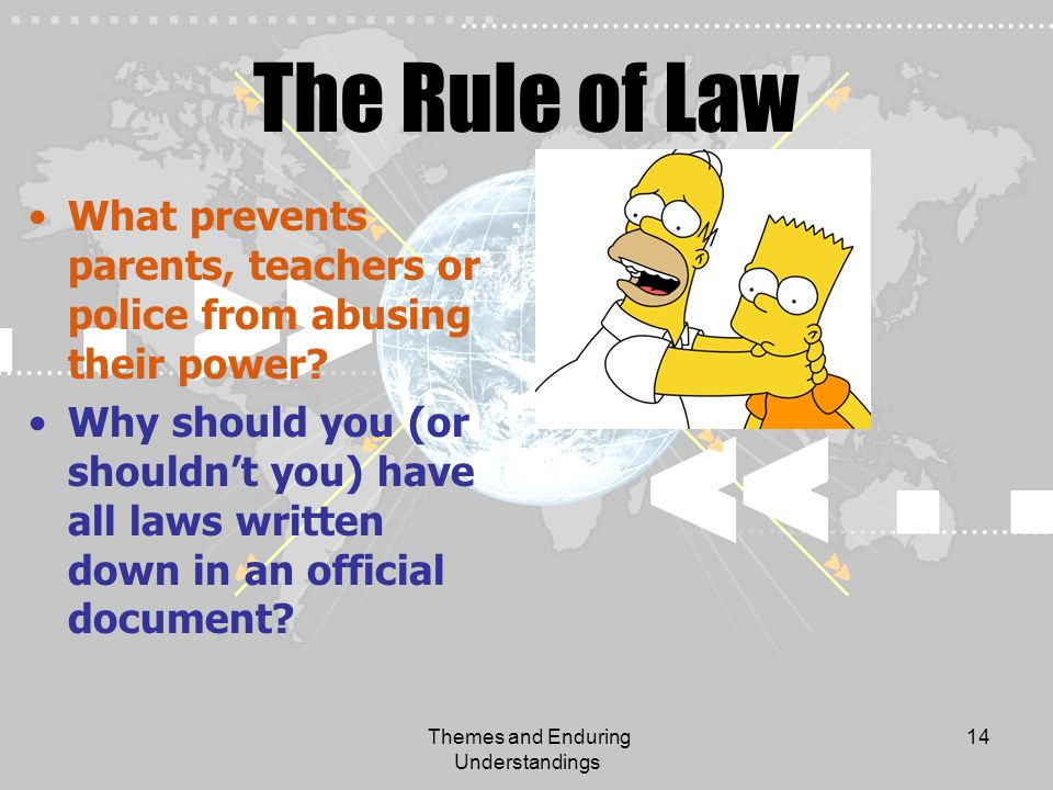 Themes and Enduring Understandings 14 The Rule of Law What prevents parents, teachers or police from abusing their power? Why should you (or shouldnt